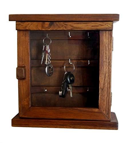 livasia Schlüsselschränkchen aus Teakholz, Schlüsselkasten, Holzschränkchen für Schlüssel (Handarbeit)