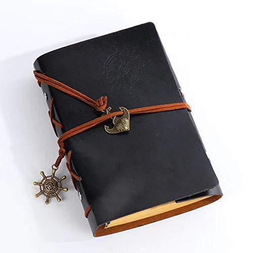Estudiante Cuaderno,Cuaderno de Cuero,Cuaderno de Notas Vintage Cuadernos Bonitos de Viaje Retro Vintage Pirate Cuaderno 160 Paginas