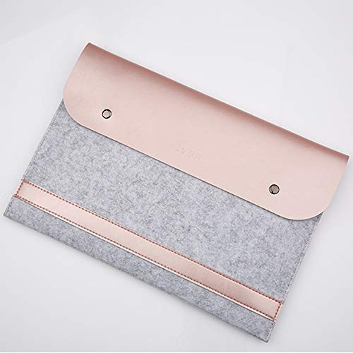 HAIJUN Mobile Phone Bags Horizontal Laptop Microfiber Leather Polyester Felt Double Magnetic Buckle Inner Bag for MacBook 12 inch Case Bags (Color : Rose Gold)