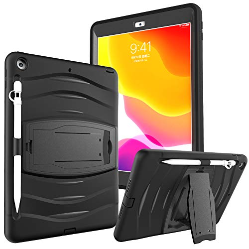 iPad Case 7th/8th Generation with Pencil Holder | SIBEITU 10.2 Inch iPad Case Heavy Duty | Shockproof Rugged Protective Cover with Kickstand Pecnil Cap for iPad 2019/2020 10.2 Inch Black