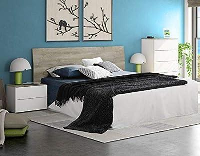 Completo pack de dormitorio compuesto por 1 cabecero para camas de 150 o 135 cm, 2 mesitas de noche y 1 cómoda a juego. Este set de estilo moderno acabado en color blanco Artik (mate) y roble Alaska, es muy fácil de combinar con cualquier estancia o ...