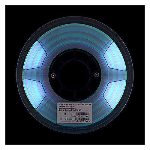 Luminous Rainbow PLA Filament, PLA Luminous Multicolor Filament, Glow in The Dark Rainbow Filament, 1.75mm, 1kg Spool