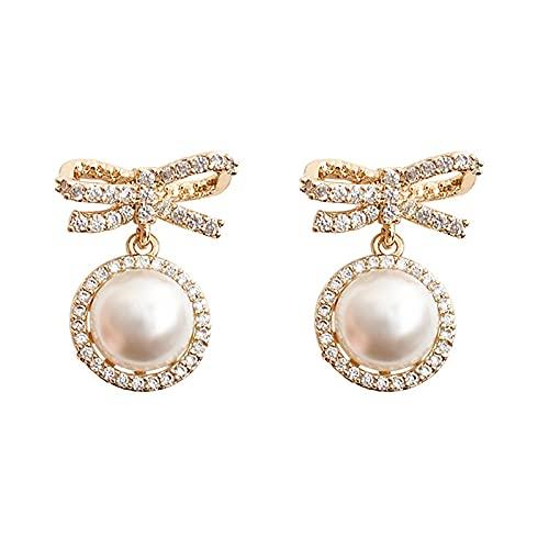 Pendientes de perlas, agujas de plata, pendientes personalizados, lazo, temperamento, pendientes de moda de alta gama