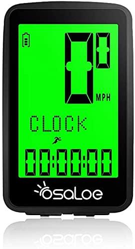 Osaloe Computer da Bici Wireless, Nuovo Computer da Bicicletta con Ricarica USB con Retroilluminazione LCD a 21 Funzioni 5 Opzioni di Lingua Tachimetro da Bici Impermeabile IPX6