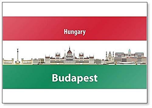 Kühlschrankmagnet, Motiv: Skyline von Budapest mit Flagge von Ungarn