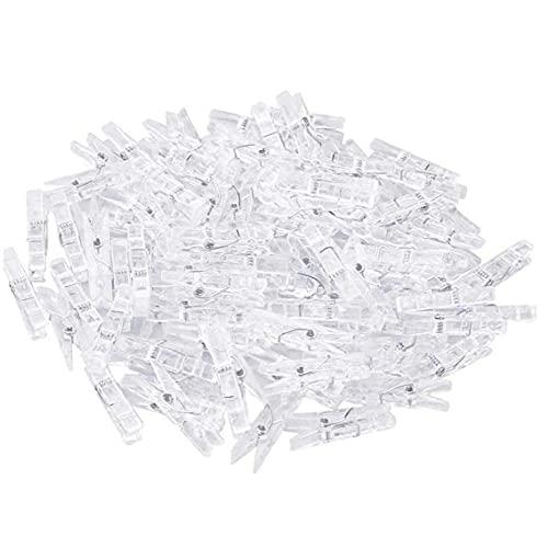 Yililay Pegas de Ropa Mini Clavijas claras Mini pequeños Clips de plástico para Ropa Interior para Exteriores Secado 100pcs