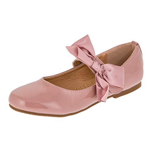 Doremi Edle Festliche Kinder Mädchen Prinzessinnen Party Schuhe Ballerinas mit Schnalle und Schleife M513rs Rosa 35 EU