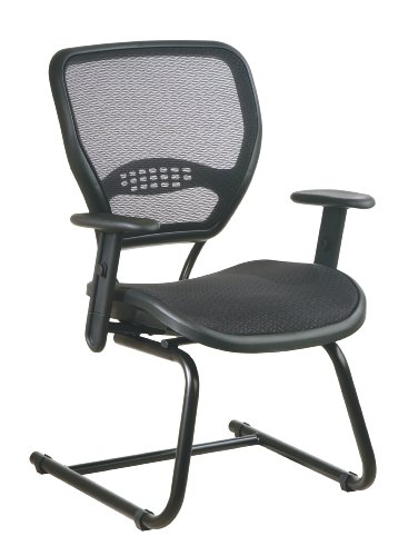 SPACE Seating AirGrid Back and Seat, Adjustable Arms and Lumbar Support, Sled Base Visitors Chair, Dark Grey