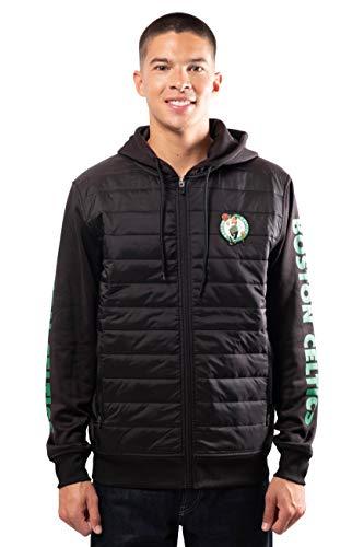 Ultra Game NBA Boston Celtics Mens Full Zip Soft Fleece Hoodie Jacket, Black, Large