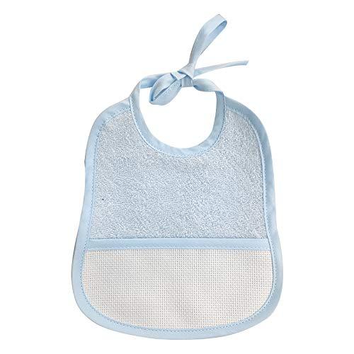 Bavaglino Neonato in TINTA UNITA CON LACCI con tela garzata - 95% Cotone - 5% Polliamide (Azzurro)