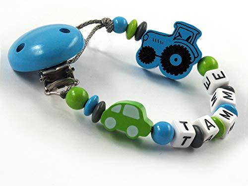 Schnullerkette mit Namen Junge Holz Auto - Trecker - Traktor (Blauer Clip)