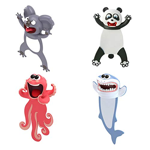 1/2/4PCS Bookmark Wacky 3D Funny Animal Bookmarks for Kids Squashed Animals Novelty Cute Bookmarks Palz Cool Bookmarks for Book Lovers Kids Girls Boys Men Women (4PC, Koala+Panda+Octopus+Shark)