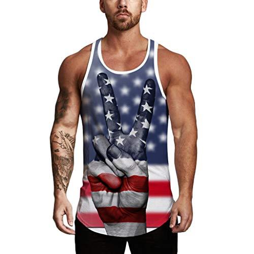 QinMM Tanktops für Männer, Männer Muscle Gym Workout USA Flagge gedruckt Tank Fitness ärmellose T-Shirts