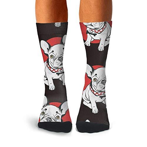 Mens Novelty Funny Crazy Athletic Tube Crew Socks French Bulldog Dress Socks