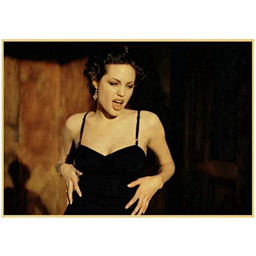Prettygirl Angelina Jolie venenoso Lara CRO Tomb Raider Vintage Lienzo Pared Arte Pintura Cartel e Impresiones para Sala de Estar decoración del hogar -60x90 cm sin Marco