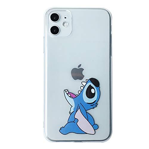 Slim Soft TPU Clear Transparent Case for Apple iPhone 11 iPhone11 Stitch Lilo Blue Eating Logo Walt Disney Disneyland Cartoon Cute Fun Funny Kids Teens Girls Daughter
