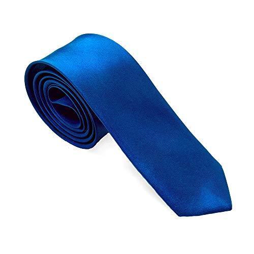 tumundo Krawatte für Hemd Anzug Schlips Binder Business Schmal Herrenschmuck Damen 21 vers. Unifarben Geschenkbox Etui, Variante:blau + Geschenkbox