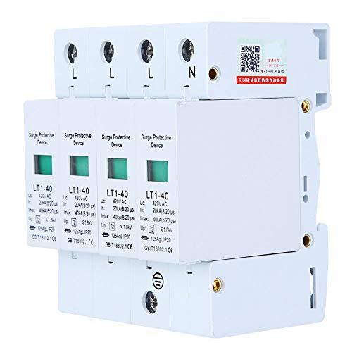 AMONIDA 4P LT1‑40 Überspannungsschutz 40ka Schutzmodul Geräte Niederspannungsableiter Weiß 4P Hauptpolzahl 420V Nennspannung und 20KA Nennstrom