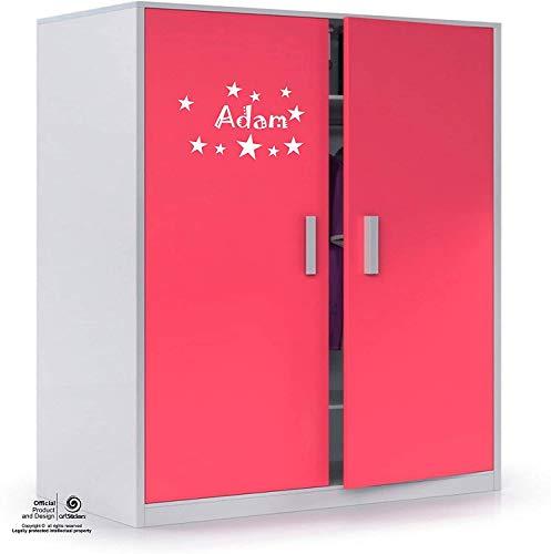 Artstickers Adhesivo Infantil para decoración de Muebles, Puertas, Paredes.Nombre: Adam, en Color Blanco Nombre de 20cm + Kit de 10 Estrellas para Libre colocación.