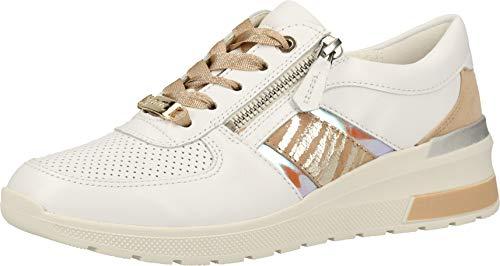 ara Damen NEAPLE Sneaker, Mehrfarbig (Weiss, Camel/Orange 07), 38 EU(5 UK)