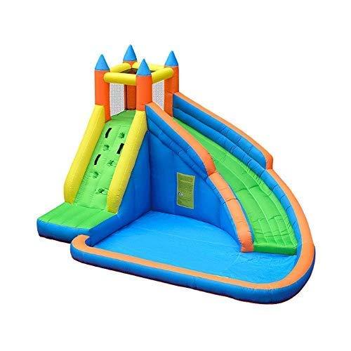 Zjcpow Castillo Inflable Azul, Piscina Inflable del Diapositiva del Agua Que Salta el Castillo de la Gorila con el soplador de Aire for los niños xuwuhz