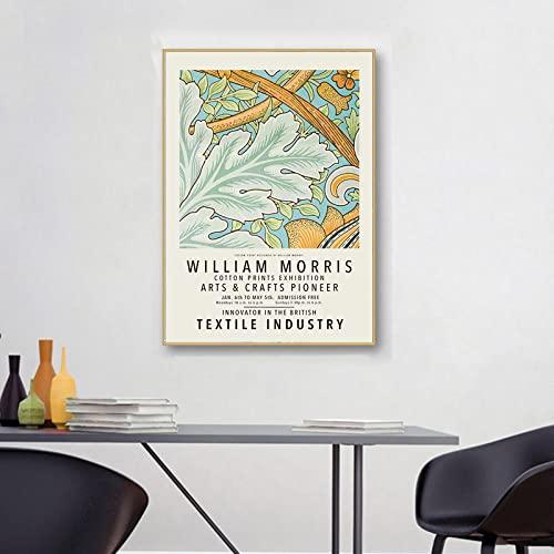 William Morris Póster de ilustraciones Flor Hojas Lienzo Arte pared Pintura de impresión abstracta Galería moderna Cuadros sala de estar Decoración de arte pared 40×60cm Sin marco N6