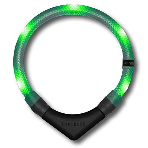 LEUCHTIE® Leuchthalsband Premium grün Größe 45 I LED Halsband für Hunde I konstante Leuchtkraft I wasserdicht I extrem hell