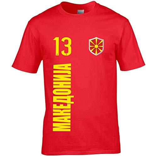 FanShirts4u Herren Fan-Shirt Jersey Trikot - MAZEDONIEN/MAKEDOIJA - T-Shirt inkl. Druck Wunschname & Nummer WM EM (XXL, MAKEDOIJA/rot)