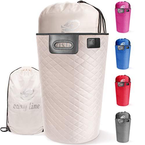 Easy line Wäschekorb (beige) Aufbewahrungskorb Wäschesammler faltbar XL 65L - mit waschbarem Wäschesack und Transportgriffen - hochwertig, stabil und leicht zu verstauen - perfekt für Wäsche und Spielzeug