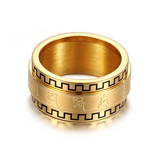 NELSON KENT drehen sechs Worte Mantra Paar Index Finger Titan Stahl Ring Gold Größe L