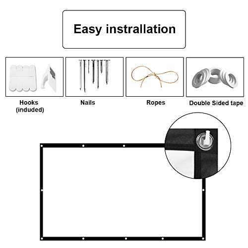 100'' Inch Projector Screen, GoFree Portable Projector Screen 16:9 HD 4K Foldable for Home Theater Cinema Indoor HD Outdoor Projector Screen,Collapsible Widescreen