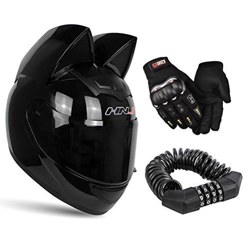 motorcycle street helmets Personality Cat Ear Full Face Motorcycle Street Helmets Men Women Cat Helmet with Ears, with Gloves & Password Lock