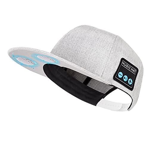 Mütze mit Bluetooth-Lautsprecher, verstellbare Bluetooth-Mütze, kabellos, für Outdoor-Sport, Baseball-Kappe Herren/Frauen/Jungen/Mädchen (Grey)