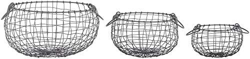 Rivanto® 3er Set Drahtkörbe mit Aufhänge-Haken, Größe S, 22,3 x 22,3 x 13,2 cm, bauchig, aus Eisendraht, in 3 verschiedenen Größen