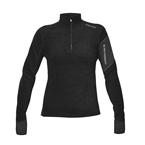 Hot Chillys Women's Lamont Zip-T Base Layer Top, Black/Black, X-Small by Hot Chillys
