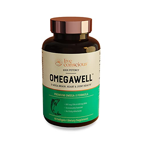 OmegaWell Fish Oil: Heart, Brain, and Joint Support   800 mg EPA 600 mg DHA - Natural Lemon Flavor, Enteric-Coated, Sustainably Sourced - Easy to Swallow 30 Day Supply