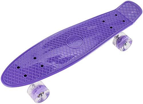 HyperMotion Skateboard für Kinder und Jugendlichen | Retro Board 56 x 15 cm, 22 Zoll mit ABEC-7 Kugellager | LED-Räder 60 x 45 mm | Härte 80A | Material 100% Kautschuk | Violett