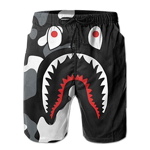Shark Half Black Men's Swim Trunk 3D Print Shorts Summer Beach Shorts Quick Dry Cargo Pants XXL