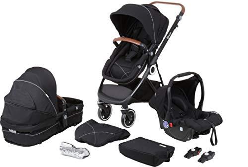 babyGO Kinderwagen 3 in 1 Halime mit Schwarzem Gestell - Kinderwagenset für Babys - Babywanne, Sportsitz und Auto-Babyschale mit viel Zubehör (Anthrazit Schwarz-Schwarzem Gestell)
