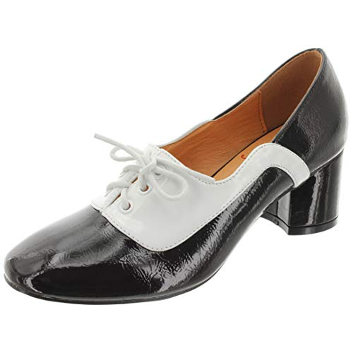 Banned Retro Damen Schnür-Pumps The Modernist SE71032 (40 EU, Black/White)