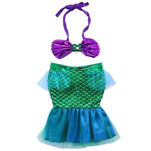 Traje de Baño para Bebé con Cola de Pez 2 Piezas Bikini de Niña Crop Top + Falda con Forma de Cola de Sirena Vestido de Natación de Chica Princesa para Playa Piscina