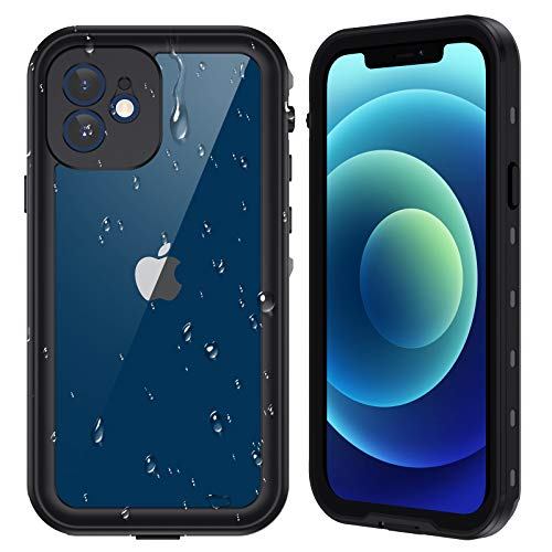 "Ruky iPhone 12 mini Waterproof Case, Built-in Screen Protector IP68 Underwater Full Body Sealed Cover Clear Sound Anti-Scratched Heavy Duty Shockproof Waterproof Cases for iPhone 12 mini 5.4"" 5G,Black"