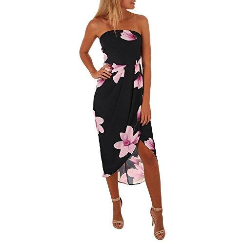 WUDUBE Vestiti da donna Estivo Floreale Stampa Fiore Abiti da Spiaggia Abito Spalle Orlo Irregolare Manica Senza Elegante Mini Vestito da Partito