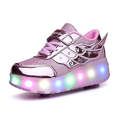 IDE Play Mädchen X2 Fitness-Schuhe, LED-Licht-Turnschuhe mit Doppel zweirädrige Jungen-Mädchen-Rollen-Skate-Freizeitschuh-Jungen-Liebhaber Mädchen,Rosa,36