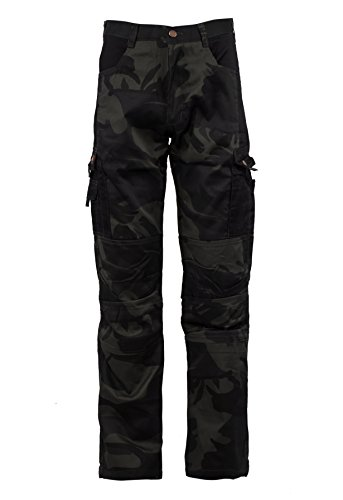 Stenso Kamo - Herren Camouflage Arbeitshose Cargohose/Bundhose mit Multifunktions-Taschen - Schwarz L