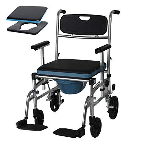 Baño Sillas de Ruedas, la Movilidad Personal Durable a Prueba de Agua de Ducha accesible Transporte de la cómoda Silla del balanceo Médico (Color : Blue, Size : A)