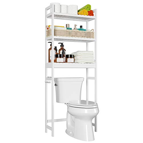 """Homfa Bamboo Over-The-Toilet Storage Rack, 3-Tier Bathroom Freestanding Shelf with 6 Hooks Plant Stand Multipurpose Organizer Space Saver for Laundry, Balcony, 24.4""""L X 10.24""""W X 64.17""""H (White)"""