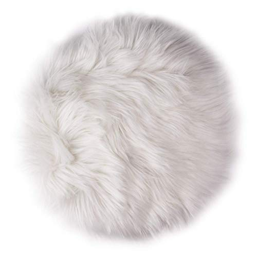 yiwoo 12inches Premium Soft Round Faux Fur Sheepskin Seat Cushion Plush Carpet Rugs For Photographing Background Of Jewellery(White)