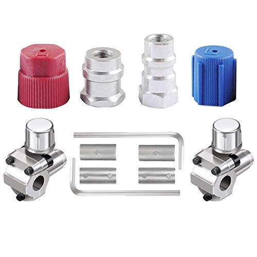 wadoy R12 to R134a Conversion Kit, R12 to R134a Retrofit Kit for A/C Pro Refrigerant, R12 to R134a Adapter, with Two BPV31 Piercing Valves