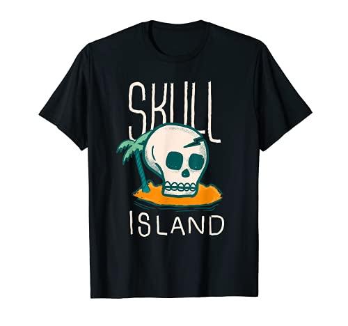 Isla Calavera Divertida Playa Palmera Vacaciones Verano Camiseta